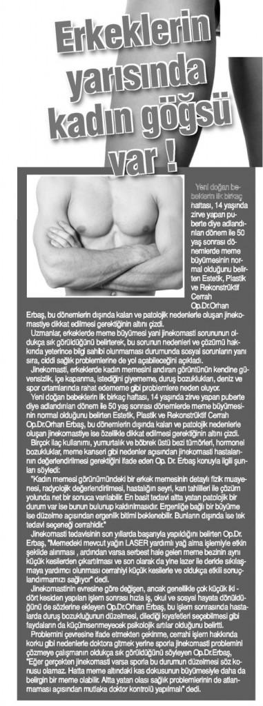 Tünaydın Gazetesi Ankara Estetik Erkek Meme Jinekomasti